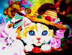 Kätzchen mit Strohhut